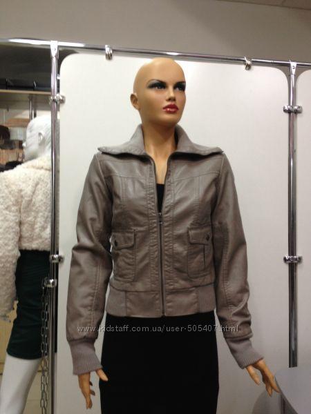 Куртка женская с утепленной подкладкой M, S серая кожзам