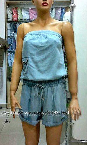 Комбинезон джинсовый голубой размер S, М
