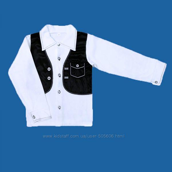 Рубашка с жилеткой-обманкой, хлопок, подойдет для школы