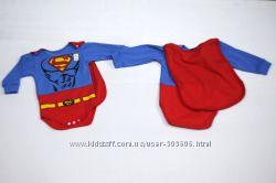 Боди и человечек Супермен, с плащом, для Супер-малышей до года