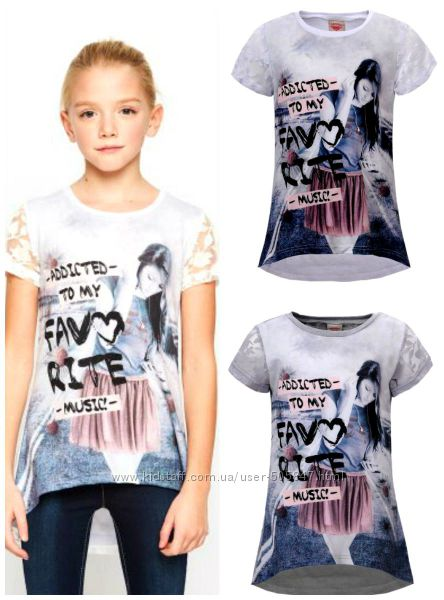 Удлинённые футболочки для девочек 134-164 см. Glo-story- Венгрия.