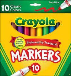 Фломастеры Crayola 10шт и деревянные цветные карандаши 12шт