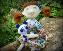 Текстильная кукла с пандой, грунтованный текстиль