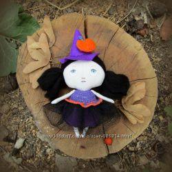 Кукла текстильная маленькая ведьмочка Тильда