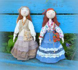 Текстильная кукла хиппи, авторская работа
