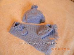 Демисезонный набор шапка шарф пинетки
