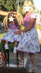 Одинаковые Платья Family look для мамы и дочки