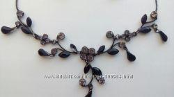 Очень красивое ожерелье и серьги Темная ночь
