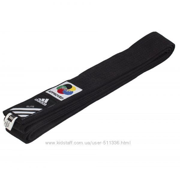 Пояс для Каратэ WKF Adidas Elite. Чёрный.