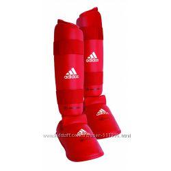 Защита голени и стопы Adidas для Каратэ WKF. Красная.