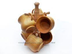 Набор деревянных чашек для чая