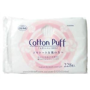 Японские хлопковые паффы для лица Suzuran Lily Bell Cotton Puff 228шт