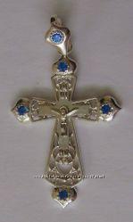 Подвес крест 410040ЮМ, серебро 925 проба, цирконы