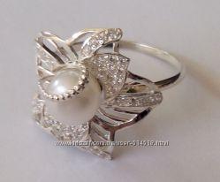 Кольцо КЦ0204МД, серебро 925 пробы, натуральный жемчуг, цирконы