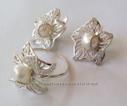 Набор КЦ0139МД, серебро 925 пробы, натуральный жемчуг, цирконы