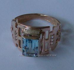 Кольцо 3048Г, золото 585 пробы, топазы