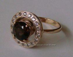 Кольцо женское 100890ЮМ, золото 585 проба, топазы