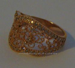 Кольцо Кф901М, золото 585 пробы, цирконы