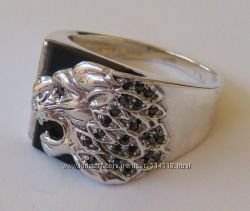 Кольцо 01006MM, серебро 925 пробы, оникс, цирконы.