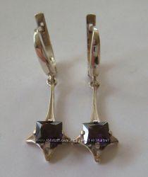 Серьги 104065ЮМ, серебро 925 пробы, цирконы