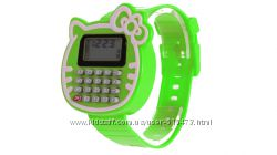 Часы детские наручные калькулятор Hello Kitty для девочки модные дешево