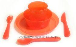 Оранжевые полупрозрачные наборы детской посуды KALAS IKEA - старая серия