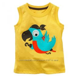 Майка желтая с попугаем jumping beans в наличии 18мес, 2Т, 3Т, 5Т, 6Т