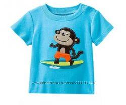 Голубая футболка с мартышкой в наличии 18мес, 2Т, 4Т, 6Т
