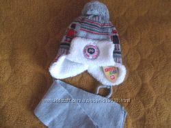 Тёплая зимняя шапочка на овчине и шарф на 1-2, 5 года ПОЛЬША