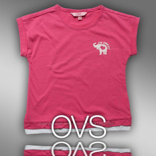 Модная футболка с принтом для девочки фирмы OVS 2-5 Лет