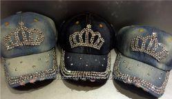 Джинсовая кепка бейсболка с камнями со стразами звезды, корона, звезда