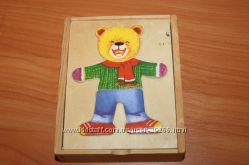 Рамка-вкладыш Одень медвежонка. Для развития логики, моторики, эмоций