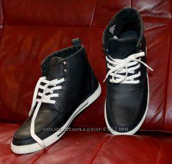 John Devin качественные мужские  кожаные ботинки темносиние, 41, 43, 44