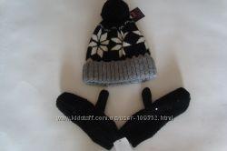 Теплый комплект- шапка и варежки на флисе