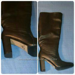 Женские кожаные сапожки 9 см каблук осень-зима 37 размер