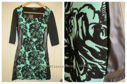 Платье с вставками из эко-кожи