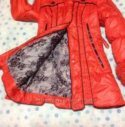 Пуховик, цвет красный терракот , зима