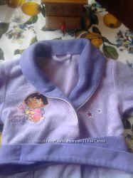 Флисовый халатик на девочку 1, 5 -2 года с Дашей путешественницей