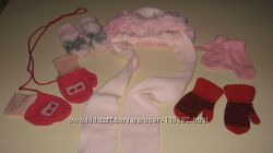 Комплект шапка  рукавицы 4 пары
