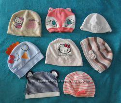 Фирменные шапочки CoolClub, hello kitty для девочки от рождения до 18 мес
