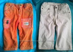 Вельветовые штаны Chicco для мальчика 74-80. Белые H&M в подарок