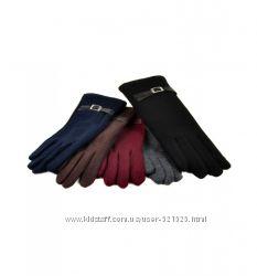Женские перчатки стрейч, подкладка плюш, 5 моделей
