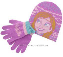 Фирменный комплект Disney шапка и перчатки Анна и Эльза