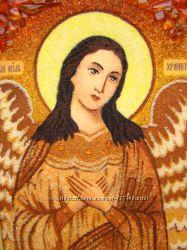 Ангел-Хранитель для женщин икона из янтаря рукописная р а с п р о д а ж а