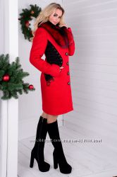 Пальто Силуэт букле крупное песец зима