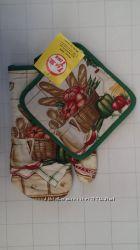 Красивые кухонные наборы, рукавичка, прихватка, полотенце