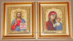 Иконы Венчальная пара вышитые крестиком 40х35 см