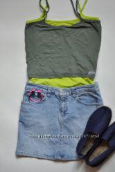 стильная светло-голубая джинсовая юбка