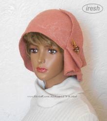 Шляпа валяная. Розовая. Ручная работа.