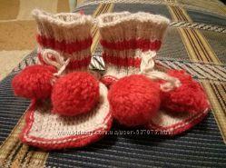Теплые вязаные носки пинетки для малыша до 10-10. 5 см